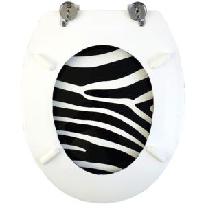Bath Duck Wc-ülőke - Mdf - Mintás - Cink Zsanérokkal - Zebra