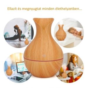 MyLike Aromaterápiás Diffúzor - M - Fa Hatású - Színváltós - Tulipán - Világosbarna - 130ml