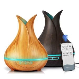 MyLike Aromaterápiás Diffúzor - XL - Fa Hatású - Színváltós - Tulipán - Világosbarna - 400ml