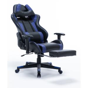 bipiline Gamer Szék - First - Fekete/Kék - Lábtartóval
