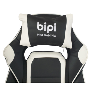 bipiline Gamer Szék - Standard - Fekete/Fehér - Lábtartóval