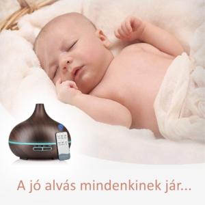 MyLike Aromaterápiás Diffúzor - L - Fa Hatású - Színváltós - Sötétbarna - 400ml