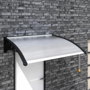 MyLike Műanyag előtető, 120x90 cm, transzparens, Fekete színű fali tartóelemekkel