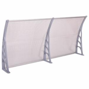 MyLike Műanyag előtető, 240 x 90 cm, transzparens, Fehér színű fali tartóelemekkel