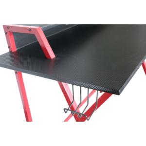 MyLike Gamer Asztal, karbon mintás asztallappal, fejhallgató tartóval, pohártartóval, laptop is kényelmesen elfér rajta, Fekete/Piros színben