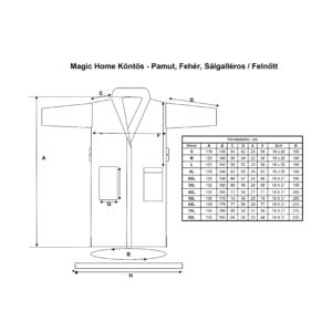 Magic Home Köntös - Pamut, Fehér, Sálgalléros - S