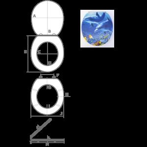 Bath Duck 3D Wc-Ülőke - Mdf - Rozsdamentes Acél Zsanérokkal - Delfin