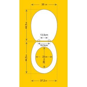 Bath Duck Wc-Ülőke - Duroplaszt - Műanyag Zsanérokkal - Kavicsok