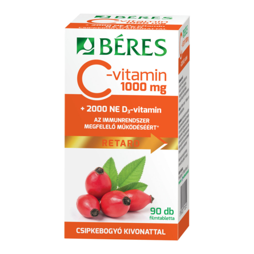 Béres C-Vitamin 1000mg Csipkebogyó + D3 Vitamin 2000NE Retard Filmtabletta 90db