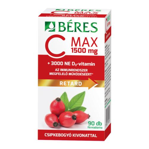 Béres C-Max 1500mg Csipkebogyó + D3 Vitamin 3000NE Retard Filmtabletta 90db