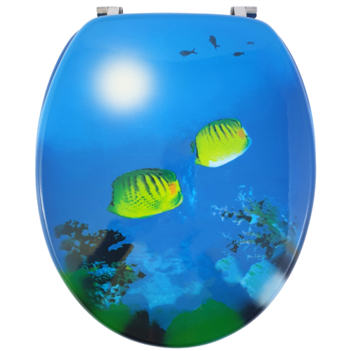 Bath Duck Wc-Ülőke - Mdf - Mintás - Rozsdamentes Acél Zsanérokkal - Sea