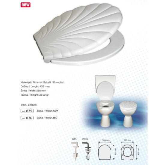 Brtva Plast LIDO Wc-Ülőke - Duroplasz - Rozsdamentes Acél Tsanérokkal - Fehér - Kagyló