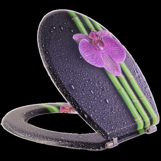 Bath Duck Wc-Ülőke - Mdf - Mintás - Rozsdamentes Acél Zsanérokkal - Bambuszvirág