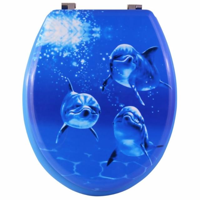 Bath Duck Wc-Ülőke - Mdf - Mintás - Rozsdamentes Acél Zsanérokkal - Delfin (1 oldalon nyomott)