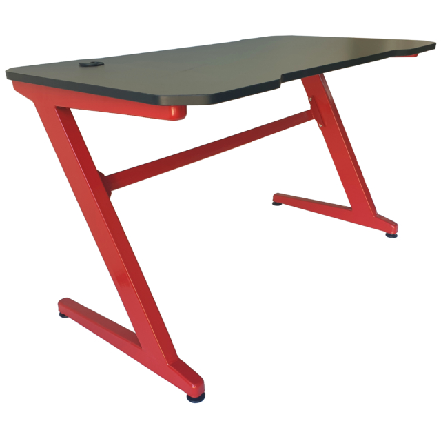 MyLike Gamer Asztal - Karbon Mintás Asztallappal - Fekete/Piros - Ajándék Dekor Elemekkel